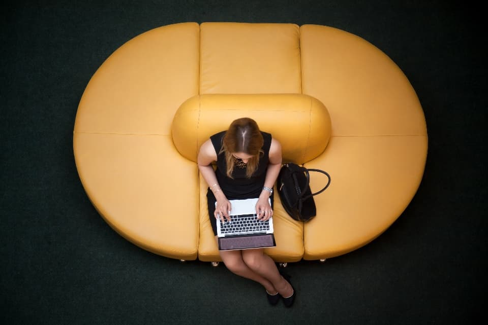 Woman accessing unsecured wireless network